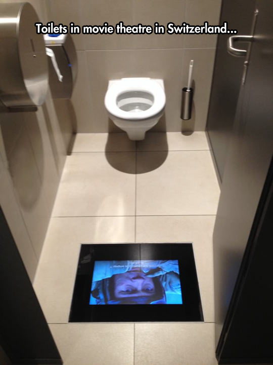 Image may contain: Toilets in movie theatre in Switzerland... - Myspace Photo