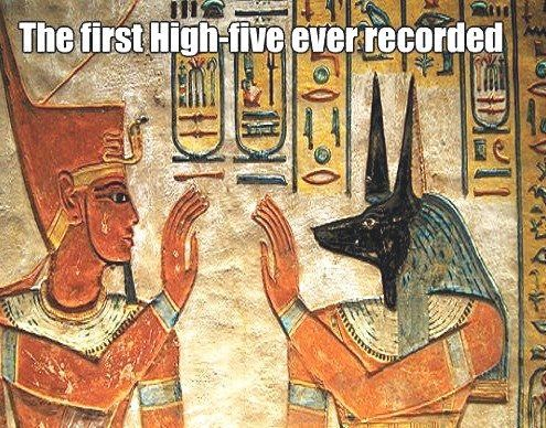 Image may contain: The first high-five ever recorded - Myspace Photo