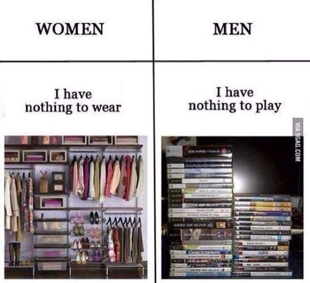 Women - i have nothing to wear. Men - i have nothing to play