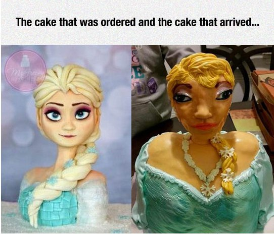 Image may contain: The cake that was ordered and the cake that arrived - Myspace Photo