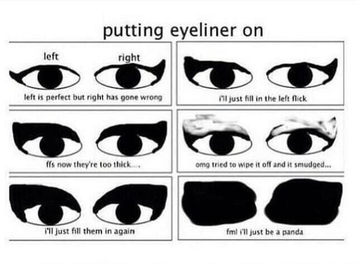 Putting eyeliner on