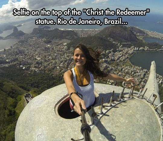 Selfie on the top of the - Christ the Redeemer - statue. Rio de Janeiro, Brazil - Myspace Photo