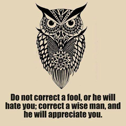 Do not correct a fool, or he will hate you; correct a wise man, and he will appreciate you