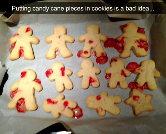 Putting candy cane pieces in cookies is a bad idea...