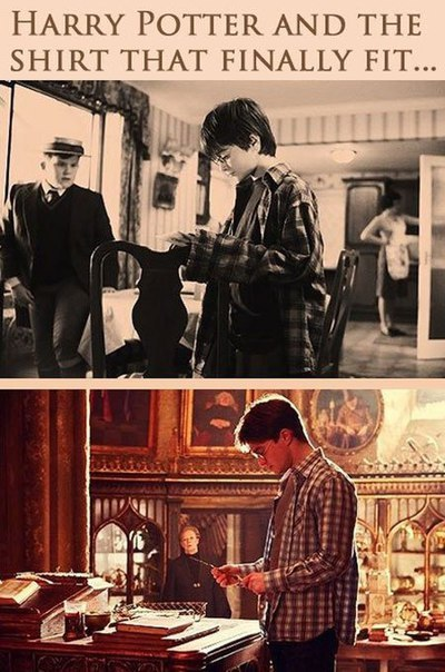 Harry Potter and the shirt that finally fit...