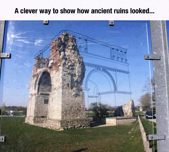 A clever way to show how ancient ruins looked..