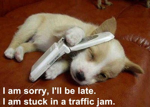 I am sorry, i'll be late. I am stuck in a traffic jam.