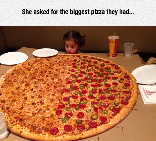 Image may contain: She asked for the biggest pizza they had - Myspace Photo