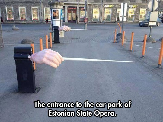 The entrance to the car park of Estonian State Opera.