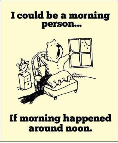 I could be a morning person.. If morning happened around noon