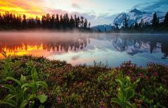Fire And Ice Of Reflection Lake, Washington