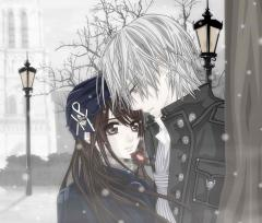 Anime couple on snow wallpaper