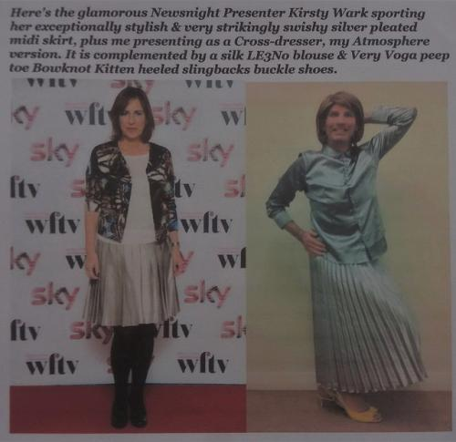 Kirsty Wark & I Wearing Silver Pleated Skirts.