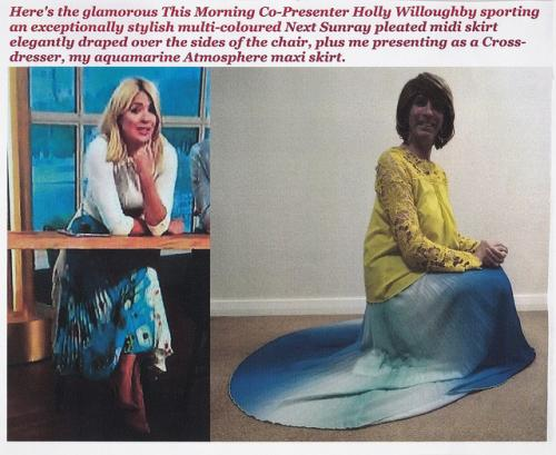 Holly Willoughby & I Wearing Multi-Coloured Skirts.
