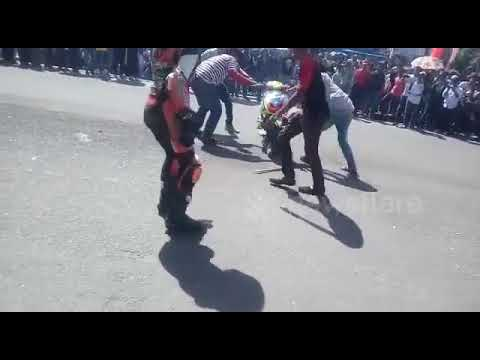 Moment Motorcycle on fire While the race is still ongoing
